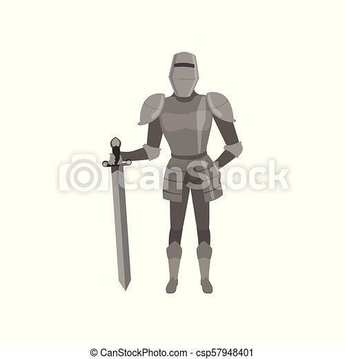 Medieval amed knight character standing with sword vector Illustration on a white background - csp57948401
