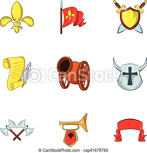Medieval armor icons set, cartoon style - csp41678760