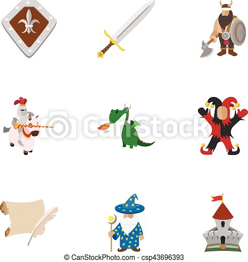 Medieval armor icons set, cartoon style - csp43696393