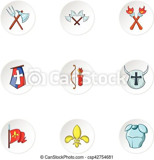 Medieval armor icons set, cartoon style - csp42754681