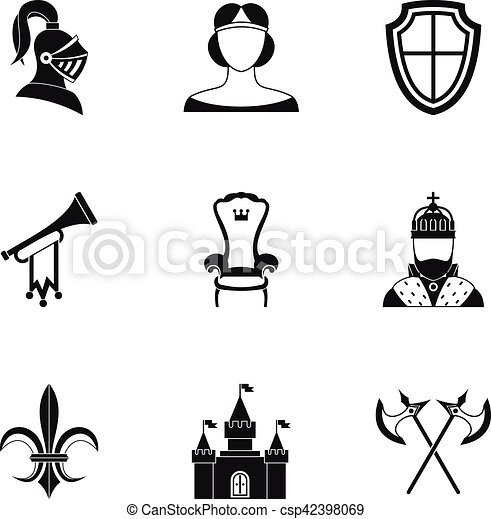 Medieval armor icons set, simple style - csp42398069