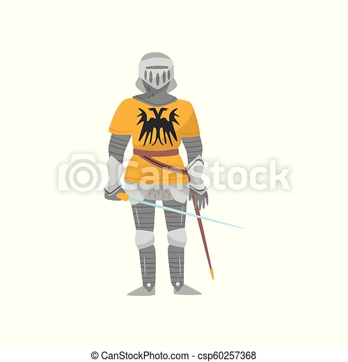 Medieval armored knight warrior character with weapon vector Illustration on a white background - csp60257368