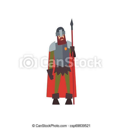 Medieval Armored Knight Warrior Character in Red Cape with Spear Vector Illustration - csp69839521