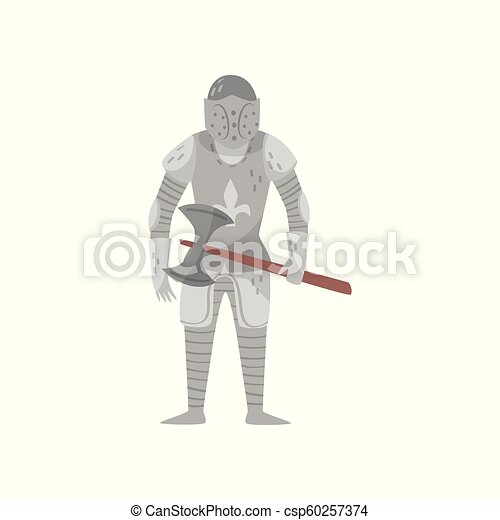Medieval armored knight warrior character with axe vector Illustration on a white background - csp60257374