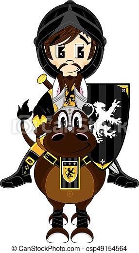 Medieval Black Knight on Horse - csp49154564