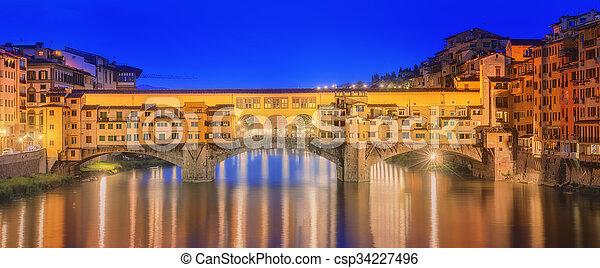 Medieval bridge Ponte Vecchio and the Arno River - csp34227496