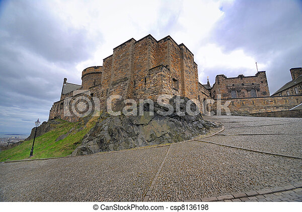 Medieval buildings in Edinburgh castle - csp8136198