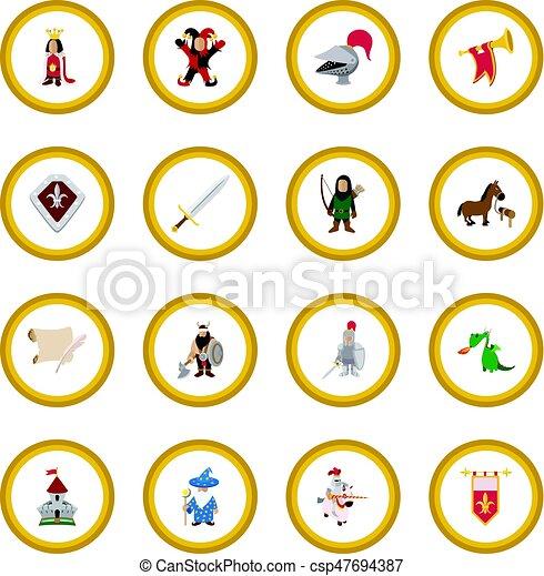 Medieval cartoon icon circle - csp47694387