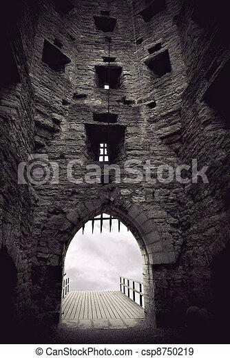 medieval castle gate - csp8750219