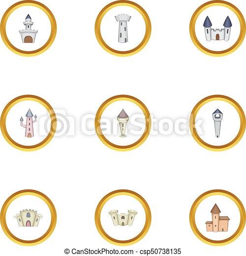 Medieval castle icons set, cartoon style - csp50738135