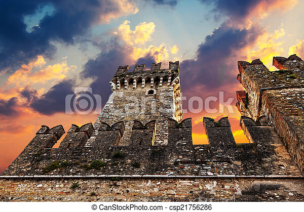 Medieval Castle Scaliger at sunset - csp21756286