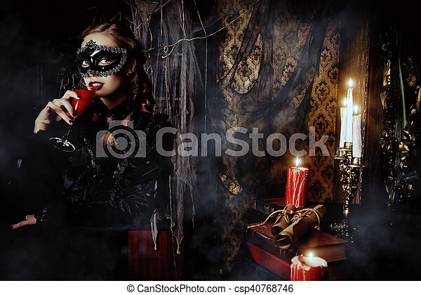 Medieval Castle Charming Mysterious Girl In Black Mask And
