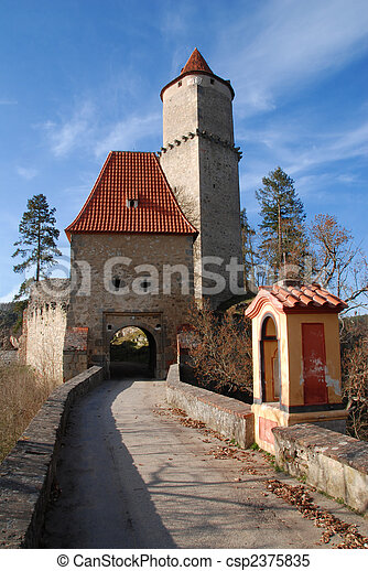Medieval Castle Zvikov In The Czech Republic With Round Tower Draw