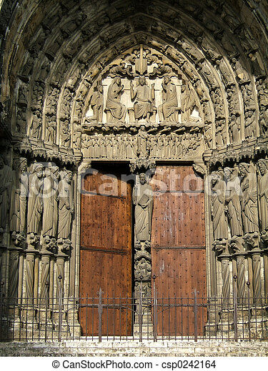 Medieval Church Door - csp0242164 & Medieval church door. Chartres cathedral (france) entrance with ...