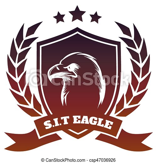 Medieval coat of arms with eagle - csp47036926