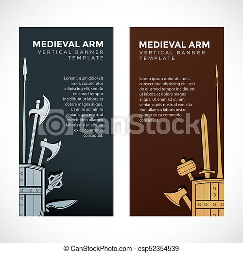 medieval cold steel arms banners vector silver gold color various