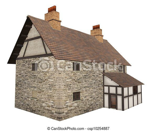 Medieval Country Farmhouse Stone And Half Timbered