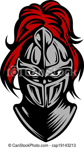 medieval dark knight in helmet vector illustration rh canstockphoto com Knight Logo Design Knight Head Logo Red