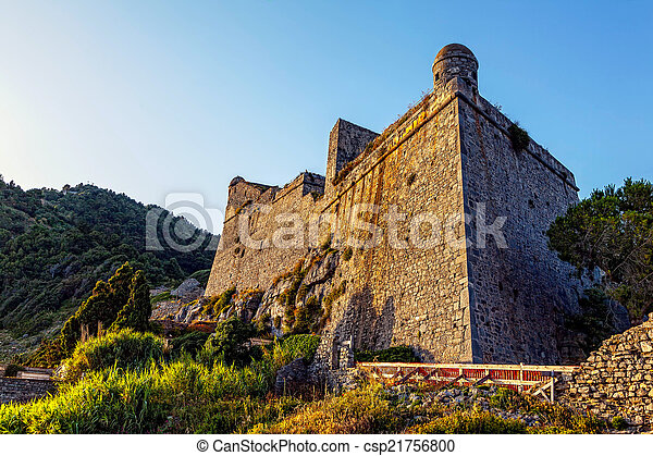 Medieval Doria Castle at sunset in the Italian town of Portovenere - csp21756800