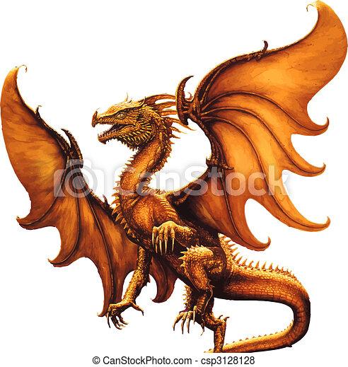 Medieval dragon. Vector  - csp3128128