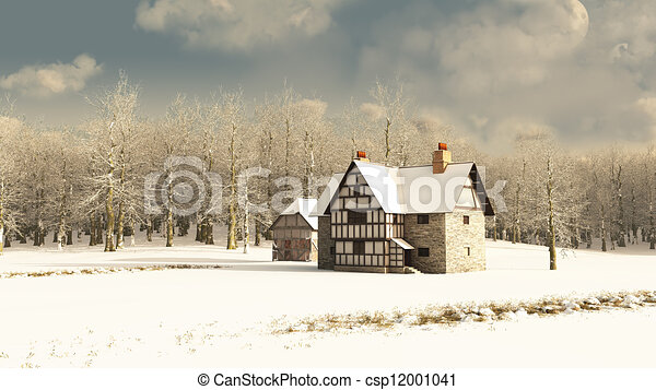 Medieval Farmhouse in Winter - csp12001041