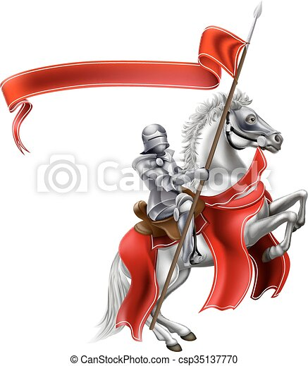 Medieval Flag Knight on Horse - csp35137770