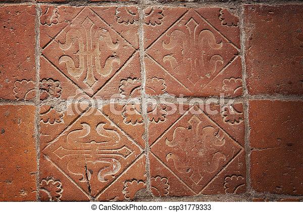 Medieval floor tiles. Image of medieval hand-made teracotta floor ...
