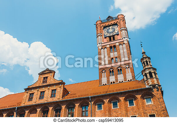 Medieval gothic town hall on main square in Torun - csp59413095