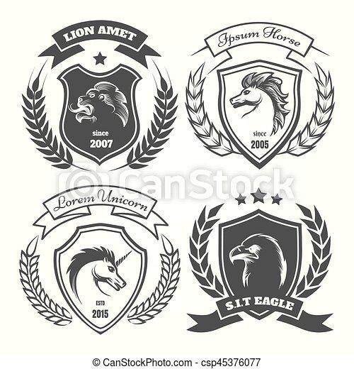 Medieval heraldry coat of arm set - csp45376077