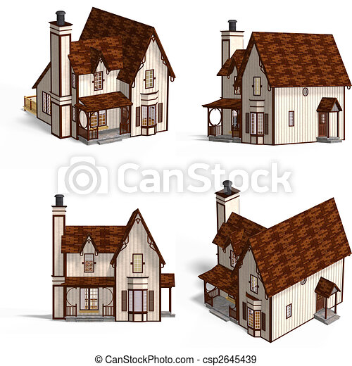 Medieval Houses Cottage Four Views Of An Old Fashioned Stock