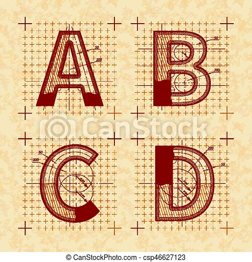 Medieval inventor sketches of A B C D letters  Retro font on old yellow  textured paper