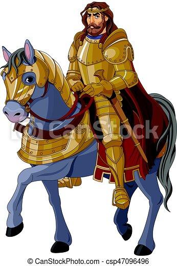 Medieval King Horseback - csp47096496