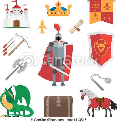 Medieval kingdom icons - csp41413546