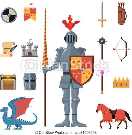 Medieval kingdom knights flat icons set  - csp31206603