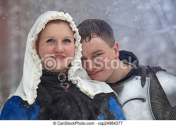 Medieval knight and his lady - csp24984377