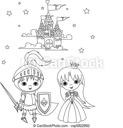 Medieval knight and princess color - csp5822892
