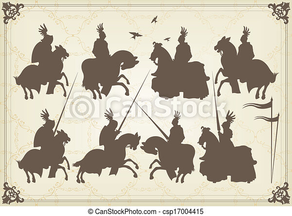 medieval knight horseman and vintage elements vector - csp17004415
