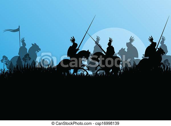 Medieval knight horseman silhouettes riding in battle field warfare illustration background vector - csp16998139