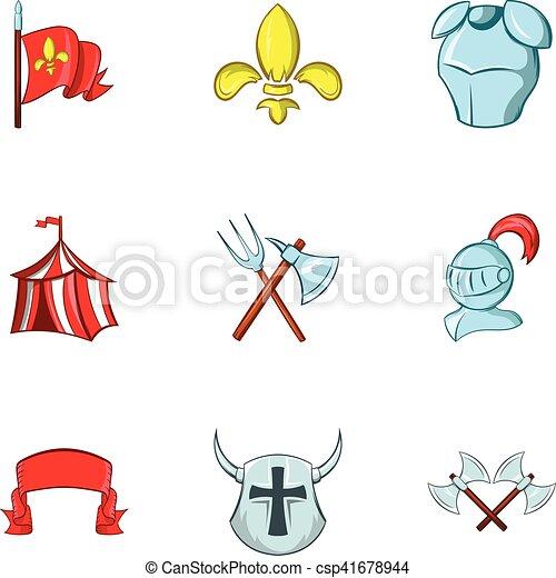 Medieval knight icons set, cartoon style - csp41678944