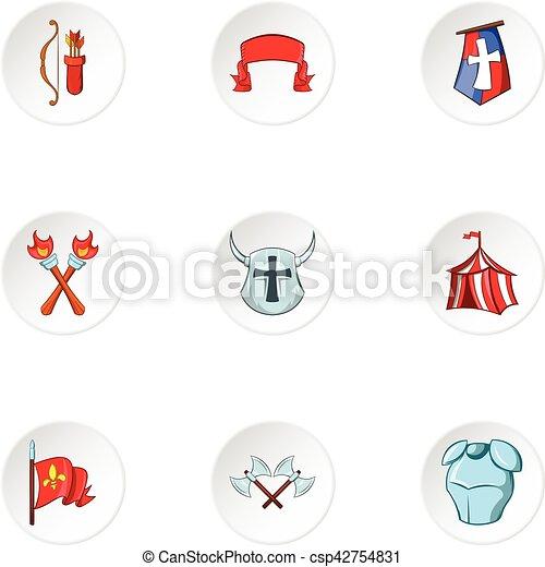 Medieval knight icons set, cartoon style - csp42754831