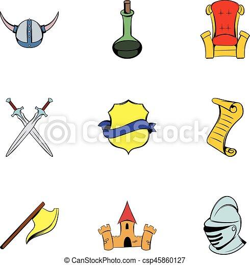 Medieval knight icons set, cartoon style - csp45860127