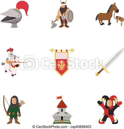 Medieval knight icons set, cartoon style - csp43696403