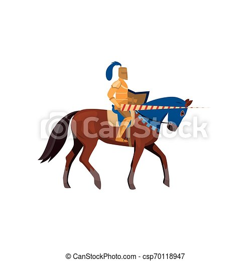 Medieval knight in gold armor with long spear with horse - csp70118947