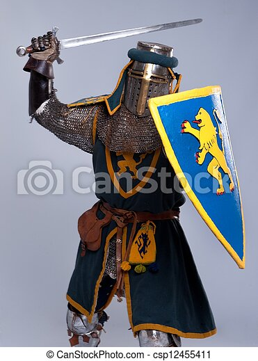 Medieval knight isolated on grey background. - csp12455411