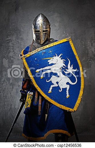 Medieval knight on grey background. - csp12456536