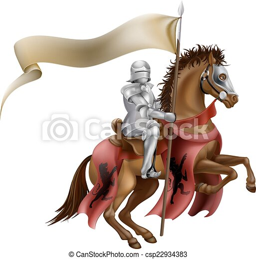 Medieval Knight on Horse - csp22934383
