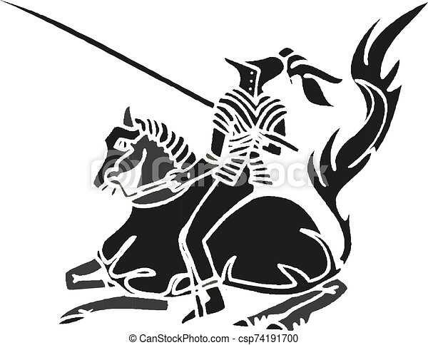 Medieval knight on horse with spear fighting Vector illustration eps10 - csp74191700