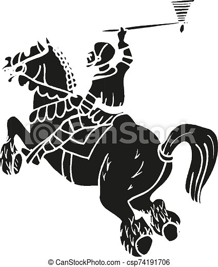 Medieval knight on horse with tomahawk fighting Vector illustration eps10 - csp74191706