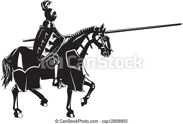 medieval knight on horseback - csp12908903