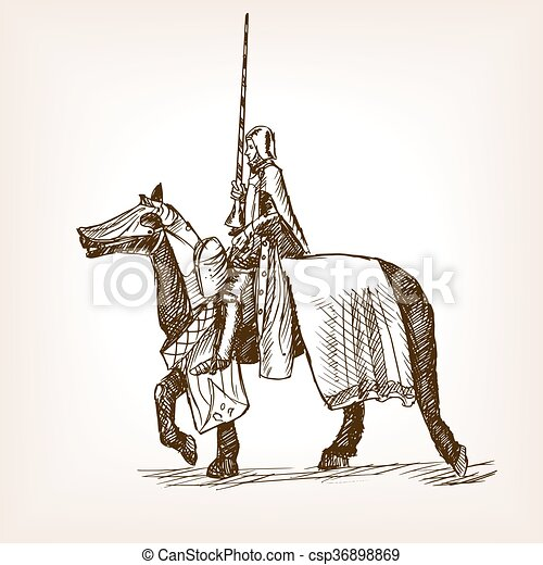 Medieval knight sketch style vector illustration - csp36898869